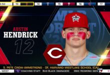 Photo of Cincinnati Reds select Austin Hendrick from West Allegheny HS with the 12th pick of 2020 MLB Draft