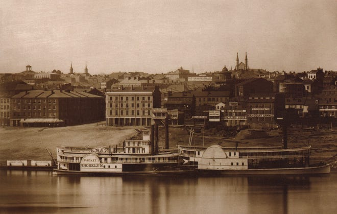 The daguerreotype by Charles Fontayne and William Porter of the Cincinnati riverfront in 1848, near Ludlow Street and Yeatman's Cove.