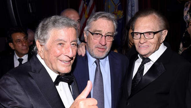 Tony Bennett and Robert De Niro hang out with Larry King, right, at a Friars Club event in New York in 2016.