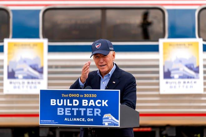 Then-candidate Joe Biden speaks at Amtrak's Alliance Train Station, Wednesday, Sept. 30, 2020, in Alliance, Ohio.