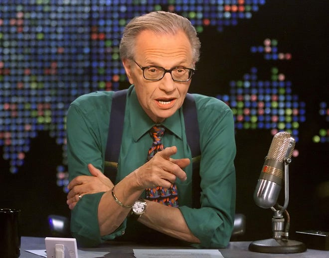 Talk show host Larry King is shown on the set of his program 'Larry King Live' at the CNN studios in Los Angeles in March 2005.