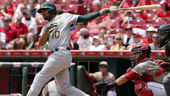 Oakland Athletics shortstop Marcus Semien (10) hits a two-run home run against the Cincinnati Reds during the second inning at Great American Ball Park.