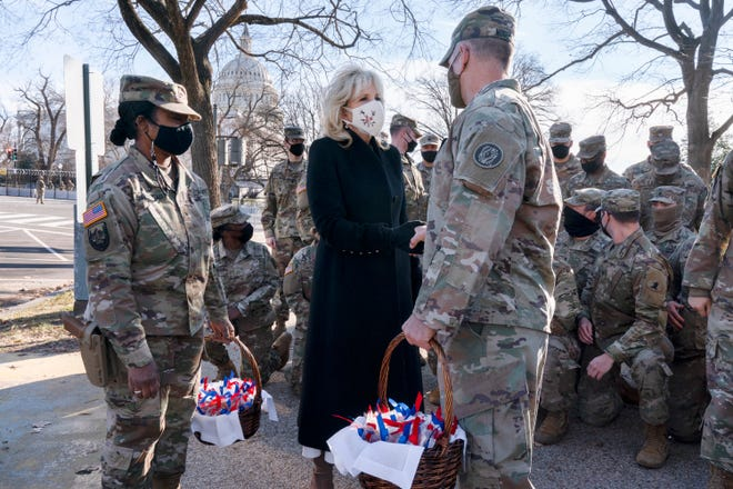 First lady Jill Biden brought baskets of chocolate chip cookies to members of the National Guard guarding the U.S. Capitol on Jan. 22, 2021,