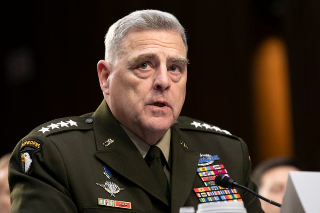 Chairman of the Joint Chiefs of Staff Gen. Mark Milley testifies to Senate Armed Services Committee on Capitol Hill in Washington, March 4, 2020.