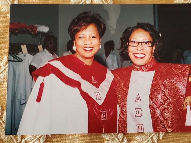 Rep. Marcia Fudge, D-Ohio, (right) and her close friend Pamela Smith at the Delta Sigma Theta convention in 1998. Fudge was president of the sorority and Smith was chair of program planning and development. (Photo courtesy of Pamela Smith)