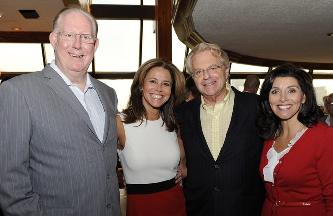 WLWT-TV's top-rated early 1990s news team members (from left) Pat Barry, Lauren Chesley, Jerry Springer and Norma Rashid at a past reunion to benefit the Jim Knippenberg Society of Professional Journalists Scholarship fund.