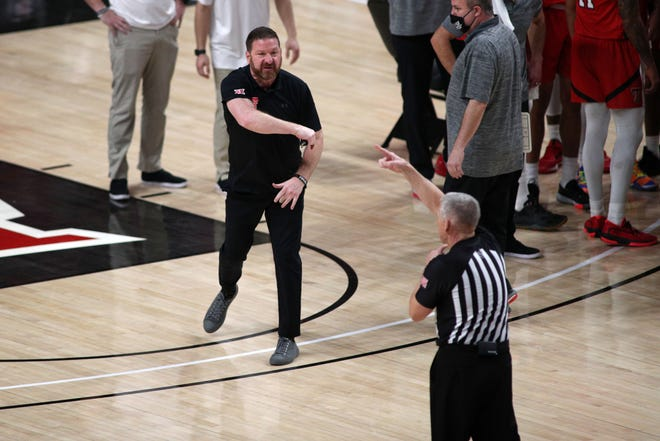 Texas Tech coach Chris Beard reacts as he is ejected from the Red Raiders' game against West Virginia.