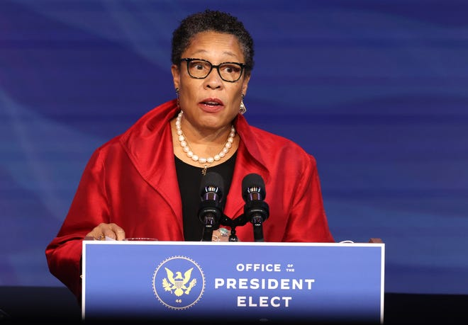 U.S. Rep. Marcia Fudge (D-OH) delivers remarks after being introduced as then-President-elect Joe Biden's nominee to head the Department of Housing and Urban Affairs at the Queen Theater on Dec. 11, 2020, in Wilmington, Delaware.