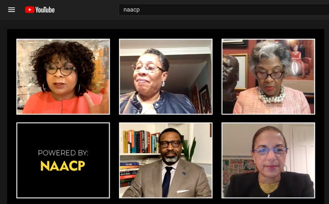 Rep. Marica Fudge, D-Ohio, (second to the right) was a guest at the NAACP virtual town hall, Jan. 27, 2021, on the eve of her nomination hearing to head HUD. April Ryan (top left) moderated the session. Other guests included Rep. Joyce Beatty, D-Ohio, chairwoman of the Congressional Black Caucus, NAACP president Derrick Johnson and Susan Rice, the head of the White House Domestic Policy Council. (Photo by Romina Ruiz-Goiriena)