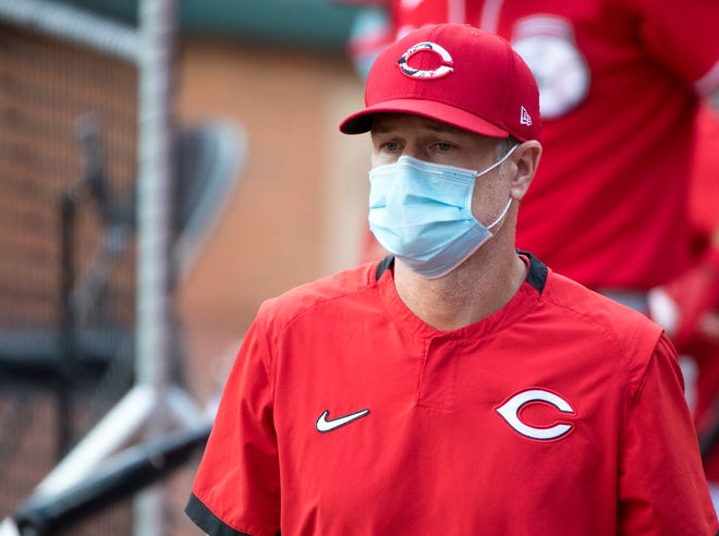 Cincinnati Reds manager David Bell looks on in the fourth inning of the Reds scrimmage on Monday, July 13, 2020, at Great American Ball Park in Cincinnati.