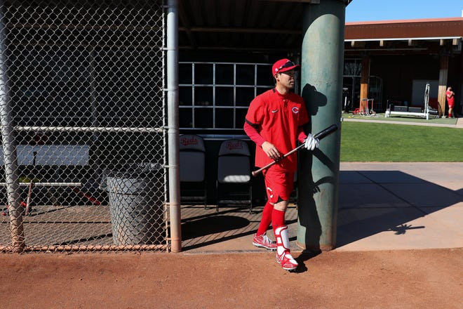 Cincinnati Reds center fielder Shogo Akiyama (4) walks out to take batting practice, Friday, Feb. 14, 2020, at the Cincinnati Reds Spring Training Facility in Goodyear, Arizona. Pitchers and catchers reported to spring training on Friday. A handful of position players have arrived and participated in light workouts.