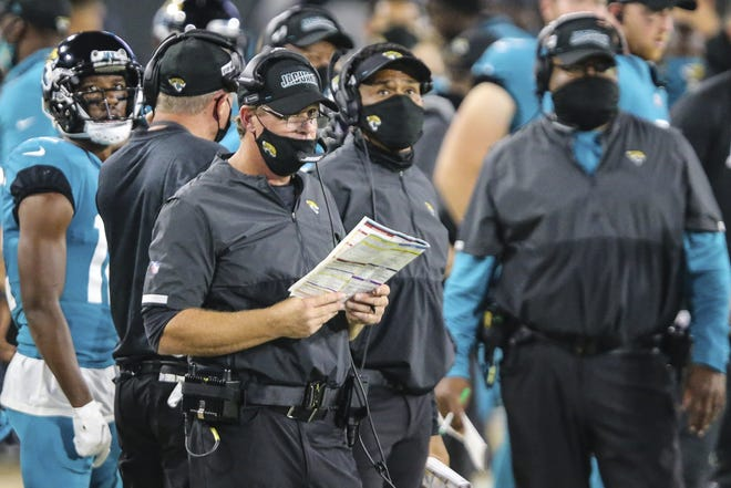 Jacksonville Jaguars offensive coordinator Jay Gruden during the second half of an NFL football game against the Miami Dolphins, Thursday, Sept. 24, 2020, in Jacksonville, Fla. Dolphins won 31-13. (AP Photo/Gary McCullough)