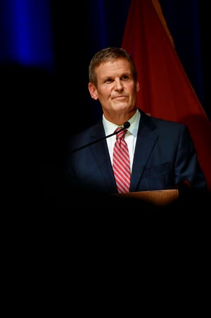 Tennessee Governor Bill Lee speaks during his third State of the State address held at War Memorial Auditorium on Monday, Feb. 8, 2021 in Nashville, Tenn.