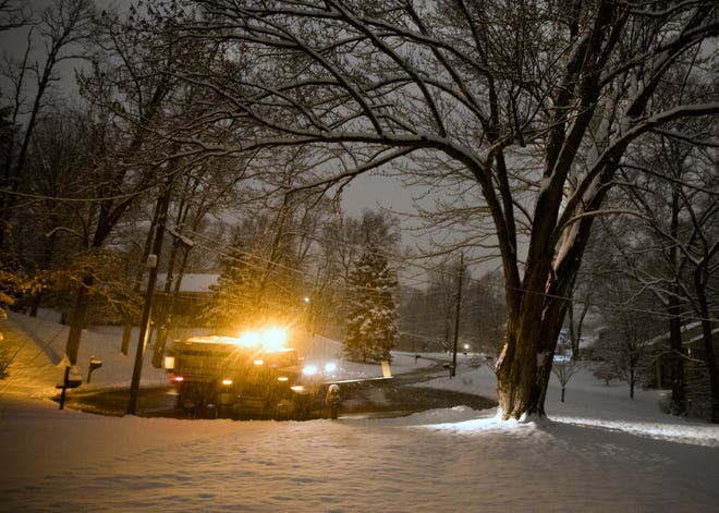 Blue Ash city crews were out early to clear roads throughout the area, Tuesday, Feb. 9, 2021. This storm is expected to bring up to eight inches of snow, the most this area has seen in five years. Temperatures aren't expected to go above freezing today. And more snow is heading our way.
