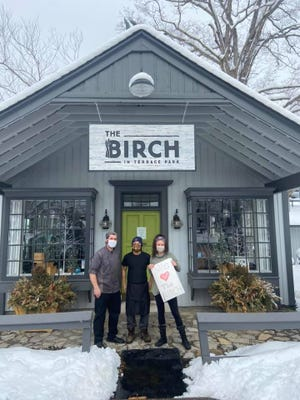 Chef Alex Clements, line cook Hunter Hoffman and owner Aaron Tritsch in front of The Birch in Terrace Park on Feb. 9.
