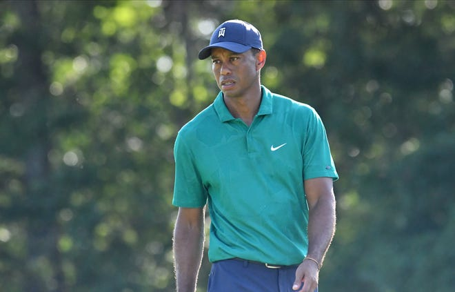 Tiger Woods shown during the second round of The Northern Trust golf tournament at TPC of Boston.