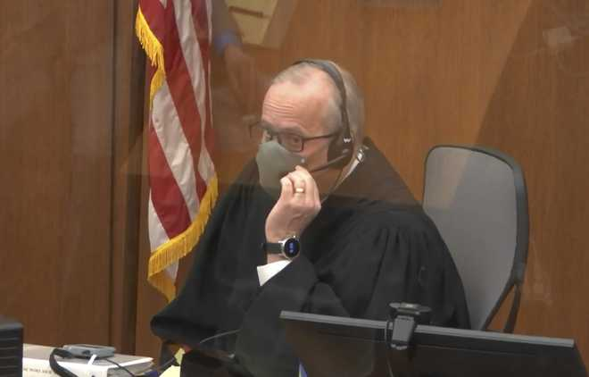 In this screen grab from video, Hennepin County Judge PeterCahill presides over jury selection in the trial of former Minneapolis police officer Derek Chauvin, Tuesday, March 9, 2021 at the Hennepin County Courthouse in Minneapolis.  Chauvin is charged in the May 25, 2020 death of George Floyd.