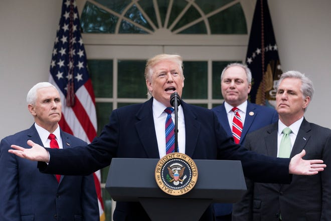President Donald J. Trump holds a news conference beside US Vice President Mike Pence, left,, Republican Representative from Louisiana Steve Scalise (2-R) and House Minority Leader Republican Kevin McCarthy, right, in the Rose Garden of the White House in Washington, DC on Jan. 4, 2019. President Trump discussed a variety of topics, particularly his meeting with Congressional Democratic and Republican leaders for negotiations on the ongoing partial shutdown of the federal government. A partial shutdown of the government continues since Congress and Trump failed to strike a deal on border security before a 22 December 22, 2018 funding deadline.