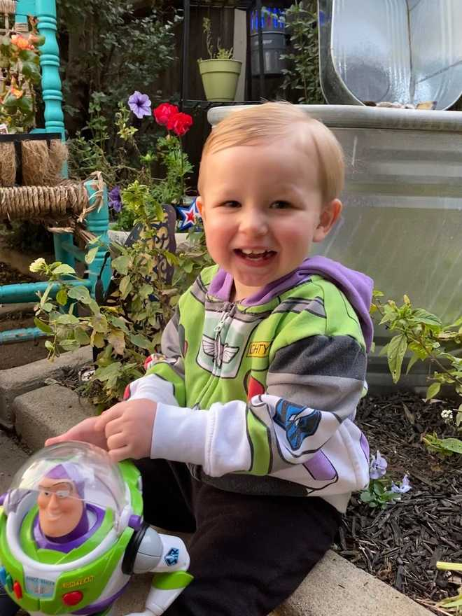Hagen posing with Buzz Lightyear.