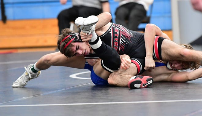La Salle's Jake Niffenegger moves to the 138-pound semifinals for the Lancers at the 2021 OHSAA State Wrestling Championships, March 13, 2021.