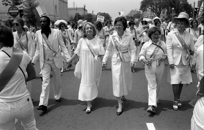 Leading supporters of the Equal Rights Amendment march in Washington on Sunday, July 9, 1978, urging Congress to extend the time for ratification of the ERA.
