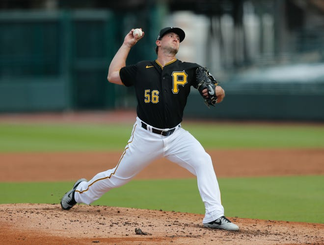 Mar 6, 2021; Bradenton, Florida, USA;  Pittsburgh Pirates starting pitcher Carson Fulmer (56) pitches in the second inning during spring training at LECOM Park. Mandatory Credit: Nathan Ray Seebeck-USA TODAY Sports