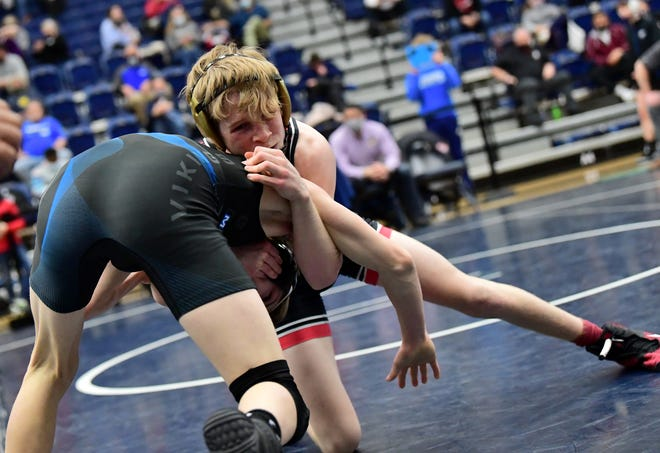La Salle's Tanner Spalding takes control of his 106-pounds title bout at the OHSAA Division I District Wrestling Championships, March 6, 2021