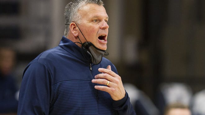 Creighton coach Greg McDermott shouts during the first half of the team's NCAA college basketball game against Villanova, Wednesday, March 3, 2021, in Villanova, Pa. (AP Photo/Laurence Kesterson)
