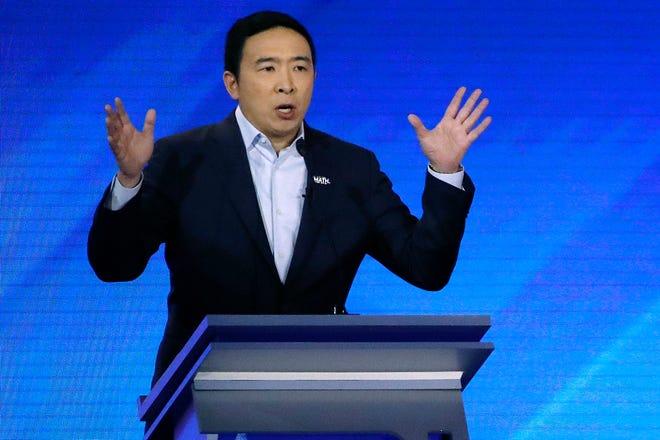 Andrew Yang speaks during a Democratic presidential primary debate.