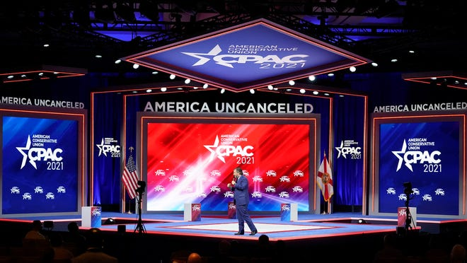 Sen. Ted Cruz, R-Texas speaks at the Conservative Political Action Conference (CPAC), Friday, Feb. 26, 2021, in Orlando, Fla.