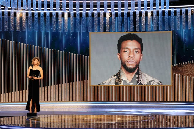 """Renee Zellweger announces the late Chadwick Boseman as winner of the best drama actor award for """"Ma Rainey's Black Bottom"""" at the 78th annual Golden Globe Awards."""