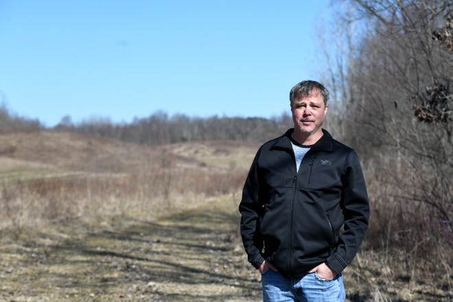 Josh Staley on his Paris Township property which he fears might be in threat from eminent domain for bike and walking trails.   A bill in the Ohio legislature (HB 63) would let local city councils, township trustees veto the taking of these properties through eminent domain when its for recreational purposes. Wednesday, March, 3, 2021.