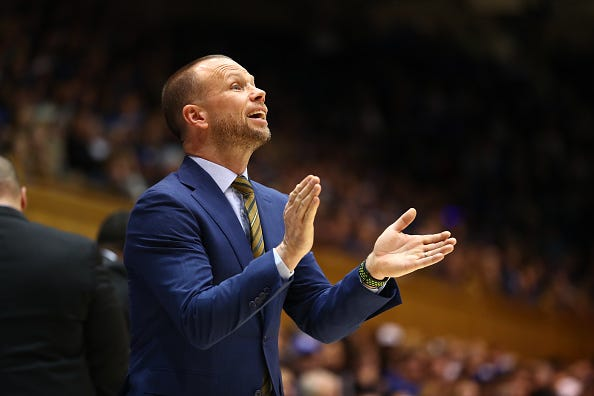 Winthrop Eagles head coach Pat Kelsey during the first half of the Duke Blue Devils game on November 29th, 2019 at Cameron Indoor Stadium in Durham, NC.