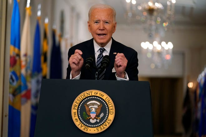 President Joe Biden speaks about the COVID-19 pandemic during a prime-time address from the East Room of the White House, Thursday, March 11, 2021, in Washington.