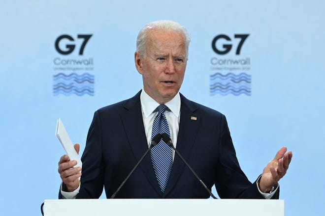 President Joe Biden speaking at the Group of Seven summit of the major industrial nations on June 13, 2021, in Cornwall,  United Kingdom.