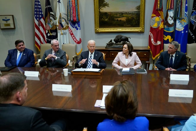 President Joe Biden meets with a bipartisan group of governors, mayors and Cabinet officials at the White House on July 14 to discuss the bipartisan infrastructure deal in the Senate.